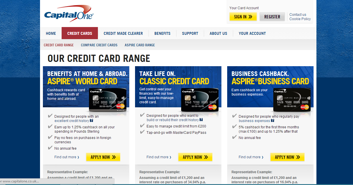 Capital One Credit Card @ www.capitalone.co.uk  Credit Cards and