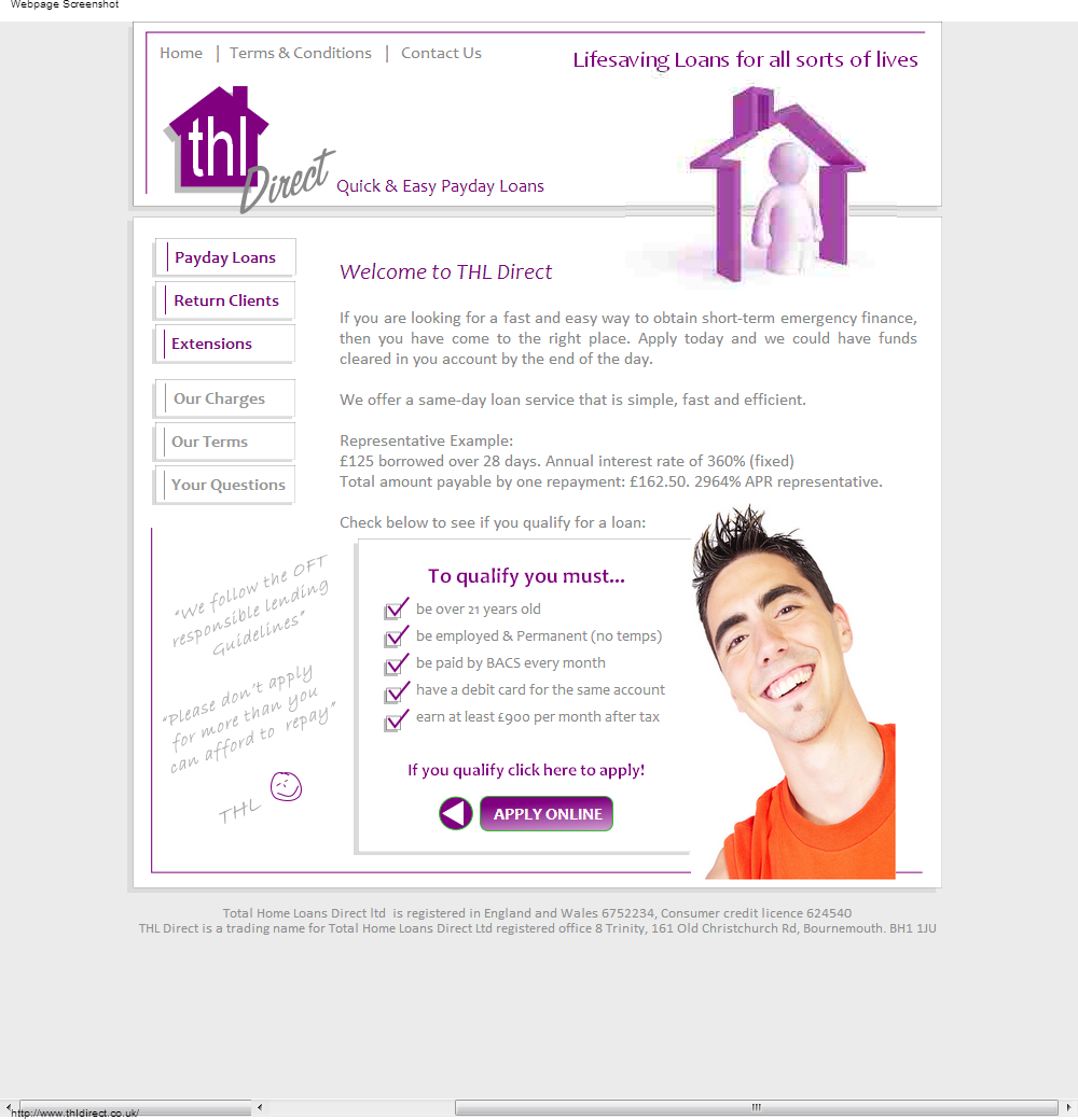 Bad Credit Payday Loans No Credit Check Direct Loan: THL Direct @ Www.thldirect.co.uk